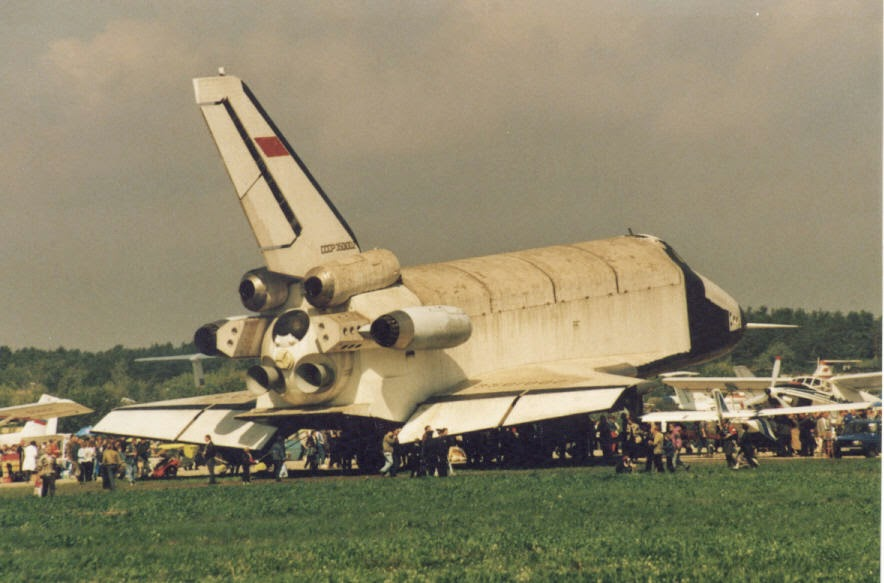 The Buran with its four AL-31 jet engine nacelles