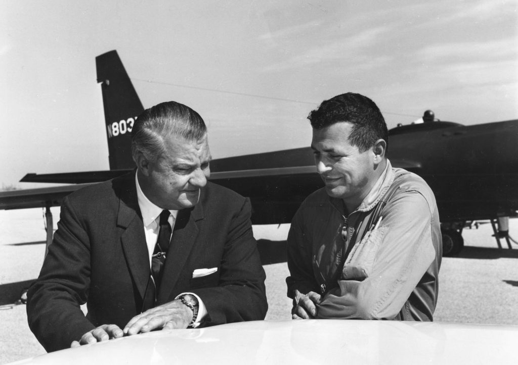 Francis Gary Powers (right) with U-2 designer Kelly Johnson in 1966. Powers was a USAF fighter pilot recruited by the CIA in 1956 to fly civilian U-2 missions deep into Russia. Powers and other USAF Reserve pilots resigned their commissions to become civilians. (U.S. Air Force photo)