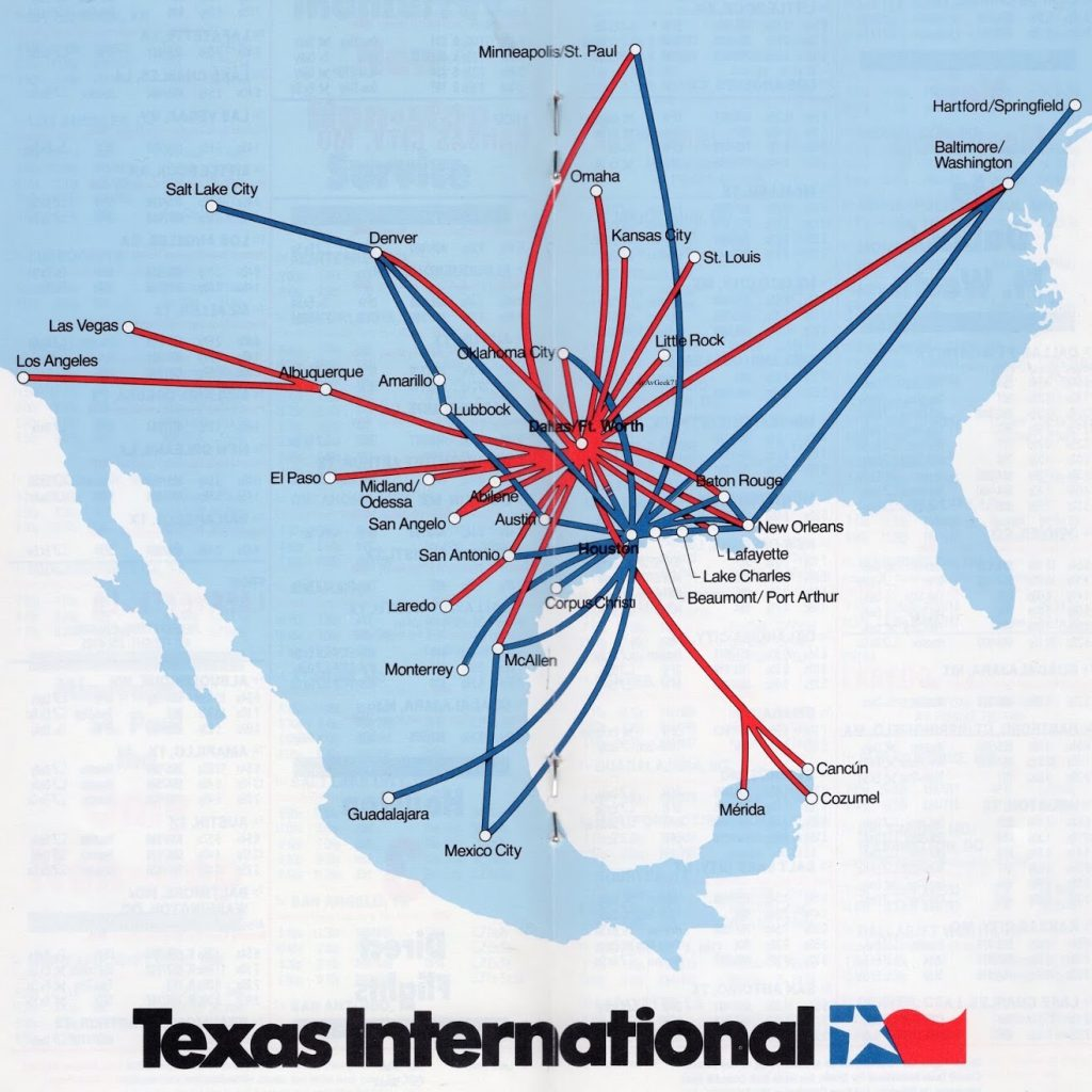 Texas International Route Map
