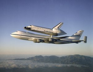 The Space Shuttle Atlantis atop the Shuttle Carrier Aircraft (SCA)
