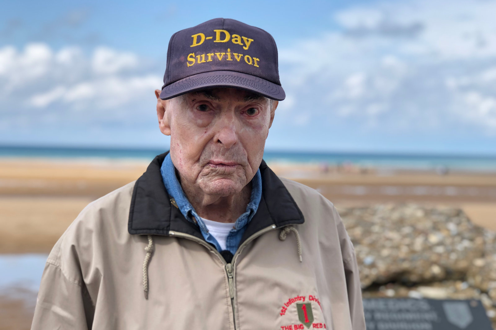 Ray Lambert, 98, stands on Omaha Beach, where 75 years ago, he fought during the D-Day invasion. Photo: Eleanor Beardsley/NPR